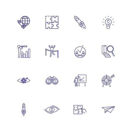 Leadership line icon set. Meeting, startup, map location. Business concept. Can be used for topics like startup, management, achieving goals