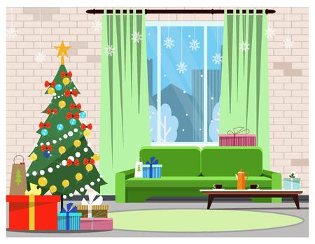 Wohnungsinnenraum mit verziertem Tannenbaum, Fenster und Sofa Zimmer mit Weihnachtsgeschenken und Couchtisch-Vektor-Illustration. Heiligabend-Konzept. Für Websites, Hintergrundbilder, Poster oder Banner. Vektorgrafik