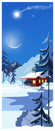 Winter landscape with cottage, shooting star and fir-trees. Night snowy country scene vector illustration. Winter concept. For websites, posters or banners.