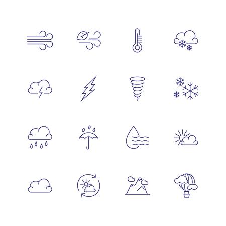 Weather conditions line icon. Set of line icons on white background. Wind, temperature, rain. Climate concept. Vector can be used for topics like weather, meteorology, nature