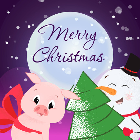 Merry Christmas flyer design. Joyful snowman with Xmas tree and pig with red bow. Night and snow in background. Template can be used for banners, posters, postcards