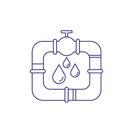 Oil pipeline line icon. Petrol pipe, gasoline, sewer. Factory concept. Vector illustration can be used for topics like oil and gas industry, plumbery, service
