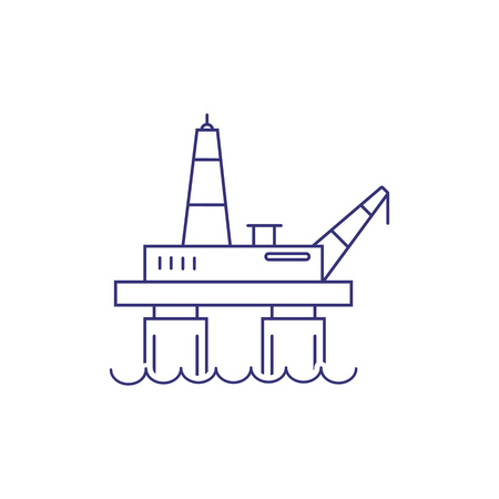 Oil platform line icon. Drilling rig, gas platform, offshore oil and gas industry. Factory concept. Vector illustration can be used for topics like industry, energy, fuel