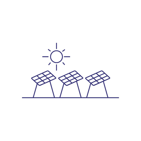 Solar battery panels line icon. Solar power generation, alternative energy, environment protection. Energy concept. Vector illustration can be used for topics like ecology, electricity, technology