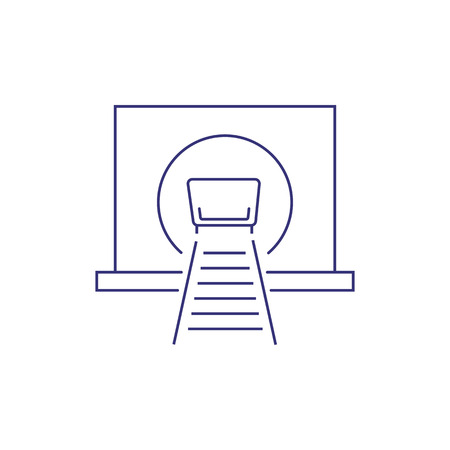Trolley in mine tunnel line icon. Coal mining, extraction of minerals, gold mining. Engineering concept. Vector illustration can be used for topics like industry, resource, transportation