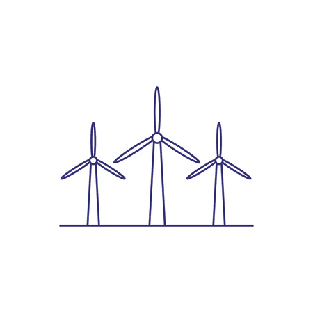Wind turbines line icon. Alternative energy, wind power, eolic energy. Electric power production concept. Vector illustration can be used for topics like energy, ecology, electricity