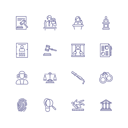 Law and criminal icons. Set of line icons on white background. Judge, murder, law. Vector illustration can be used for topics like law, criminal Vektorové ilustrace