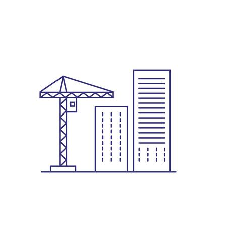 Construction crane and buildings line icon. Construction site, building industry, housing development. Construction concept. Vector can be used for topics like industry, architecture, engineering