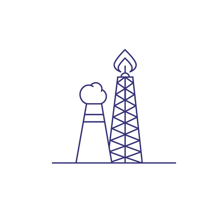 Gas flaring line icon. Oil refinery, oil and gas industry, petrochemical plant. Factory concept. Vector illustration can be used for topics like industry, energy, ecology
