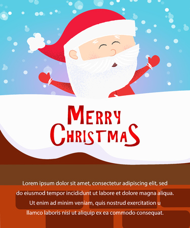 Merry Christmas poster design. Cute Santa Claus having fun on snow covered roof on blue background. Illustration can be used for banners, flyers, postcards