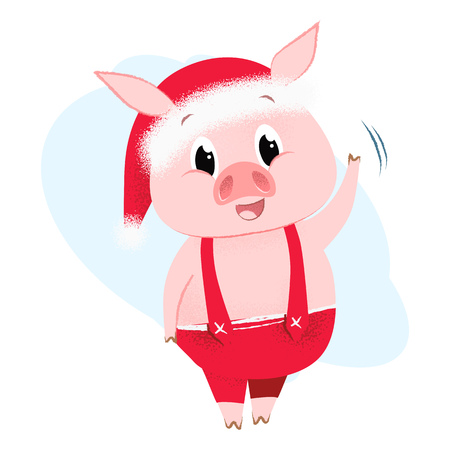 Cartoon piggy greeting card  element design. Illustration of piglet waving in red jumpers. Can be used for topics like Christmas, holiday, festival, cartoon