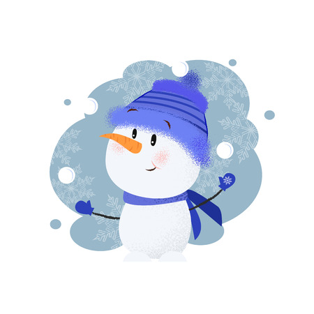 Cute snowman greeting card design. Drawing of snowman in blue knitted hat and scarf on aquarelle background with snowflakes. Can be used for topics like Christmas, holiday, festival, cartoon