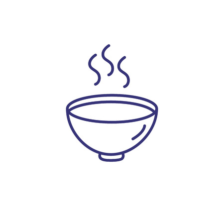 Hot soup line icon. Cream soup, recipe, steam. Eating concept. Vector illustration can be used for topics like lunch, dinner, gourmet