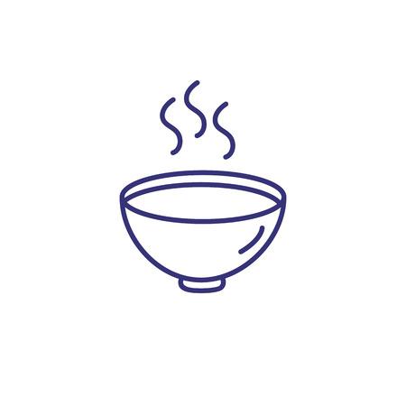 Icona della linea di zuppa calda. Zuppa di crema, ricetta, vapore. Mangiare il concetto. L'illustrazione vettoriale può essere utilizzata per argomenti come pranzo, cena, gourmet