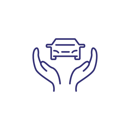 Care of car line icon. Human hands supporting vehicle. Car service concept. Can be used for topics like maintenance, inspection, insurance
