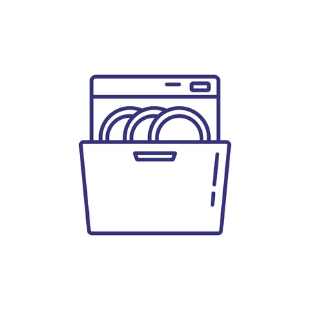 Dishwasher line icon. Plates, dish, washer. Home appliances concept. Can be used for topics like kitchen, cleaning, kitchenware