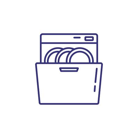 Vaatwasser lijn pictogram. Borden, schotel, wasmachine. Huishoudelijke apparaten concept. Kan worden gebruikt voor onderwerpen als keuken, schoonmaken, keukengerei