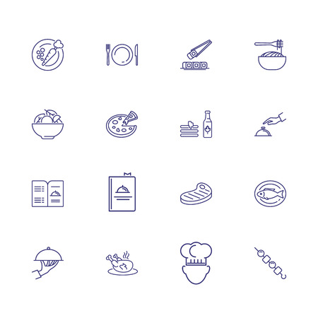 Restaurant dishes icons. Set of line icons. Yummy, cuisine, menu. Food service concept. Vector illustration can be used for topics like cooking, food, restaurant Vettoriali
