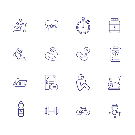 Sport and gym icons. Set of line icons. Effort, training, bicep. Workout concept. Vector illustration can be used for topics like body conscious, exercising, muscular built