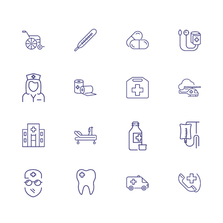 Healthcare and medicine icons. Set of line icons. Pills, doctor, first aid. Ambulance concept. Vector illustration can be used for topics like hospital, clinic, treatment