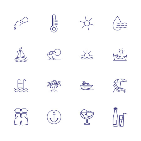 Hot climate icons. Set of line icons. Humidity, trip, tourism. Vacation concept. Vector illustration can be used for topics like voyage, weather, recreation