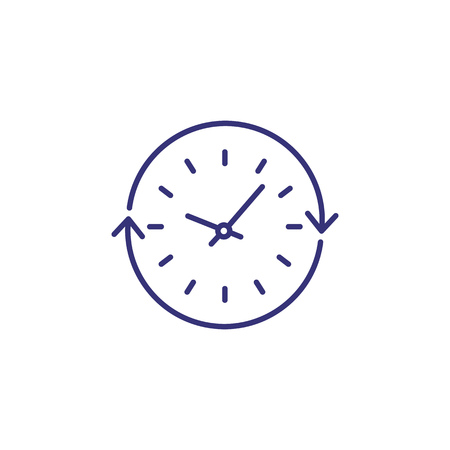 Course of time line icon. Clock, circle, cycle arrow. Time concept. Can be used for topics like schedule, daily routine, time management Vectores