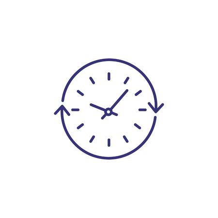 Curso de icono de línea de tiempo. Reloj, círculo, ciclo de flecha. Concepto de tiempo. Puede usarse para temas como horario, rutina diaria, administración del tiempo