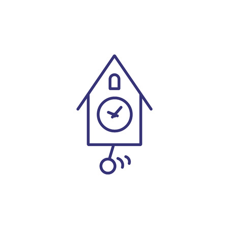 Cuckoo clock line icon. Timer, timepiece, bird. Time concept. Can be used for topics like deadline, daily routine, reminder Ilustracja