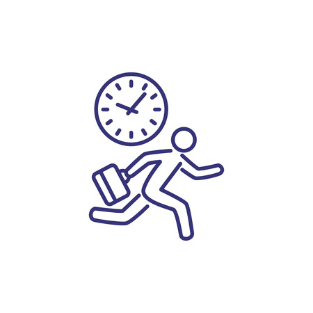 End of office day line icon. Clock and running man with suitcase. Time concept. Can be used for topics like schedule, business, deadline