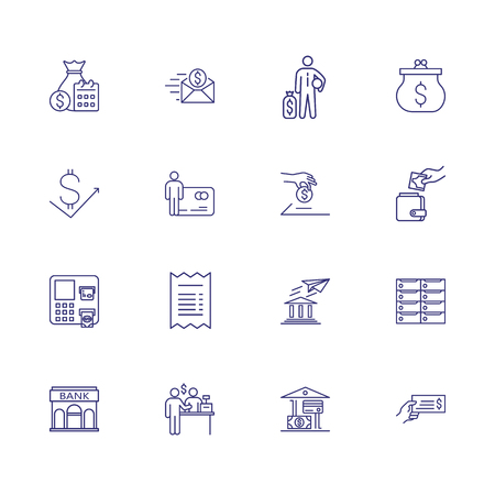 Financial transactions icons. Set of line icons. Earning money, receipt, payment. Economy concept. Vector illustration can be used for topics like finance, money, banking