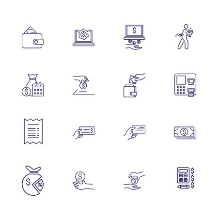 Saving money icons. Set of line icons. Salary, calculating, income. Earning money concept. Vector illustration can be used for topics like bills, finance,  budget