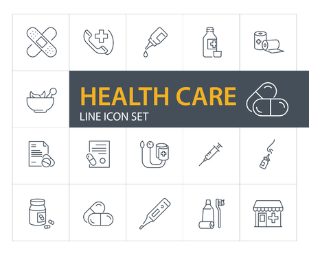 Health care line icon set. Drugstore, pills, syringe. Medicine concept. Can be used for topics like emergency, first aid, medical help Illustration