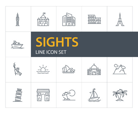 Sights line icon set. Paris, London, New York. Tourism concept. Can be used for topics like vacation, travel, sightseeing Ilustração