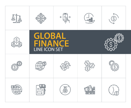 Global finance line icon set. Stakeholders, bitcoin mining, cash. International business concept. Can be used for topics like money, accounting, investment, online payment