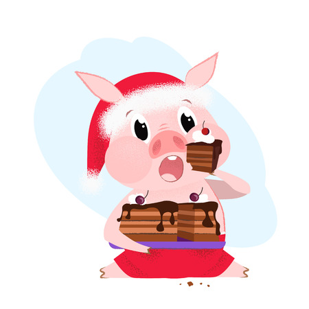 Funny pig in Santa hat eating chocolate cake. Vector illustration of cartoon element on blue background. New Year, Christmas, holiday symbol. Can be used for greeting card, poster, leaflet Standard-Bild - 112276417