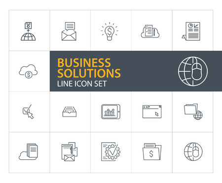 Business solutions line icon set. New message, analytics, browser window. Information technology concept. Can be used for topics like data storage, cloud service, finance Иллюстрация