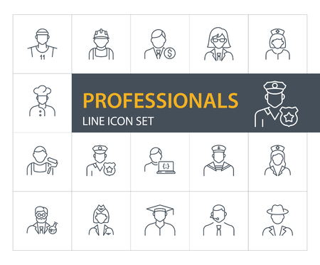 Professionals line icon set. Doctor, sportsman, policeman. Occupation concept. Can be used for topics like work, vocation, expertise  イラスト・ベクター素材