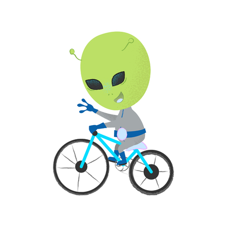 Happy alien riding bicycle and waving with hand. Character, mascot, leisure. Can be used for topics like ufo, science fiction, activity Ilustração