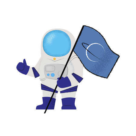 Spaceman showing flag and thumbs-up. Explorer, pioneer, mission. Can be used for topics like success, colonization, accomplishment