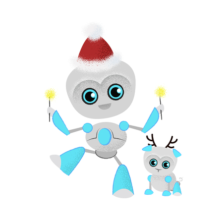 Dancing robot and robotic dog in Santa hats. Technology, toy, Christmas. Can be used for topics like holiday, cybernetics, artificial interlligence