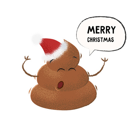 Poop in Santa hat singing Merry Christmas. Emoji, character, holiday. Can be used for topics like toilet, nonsense, stink 向量圖像