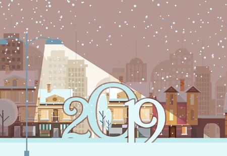 Postcard design with two thousand and nineteen date. Numbers under the spotlight on background with snowy town. Can be used for postcards, invitations, greeting cards 向量圖像