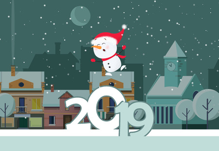 Poster design with flying and singing snowman. Flying snowman and two thousand and nineteen date on background with snowy winter town. Can be used for postcards, invitations, greeting cards