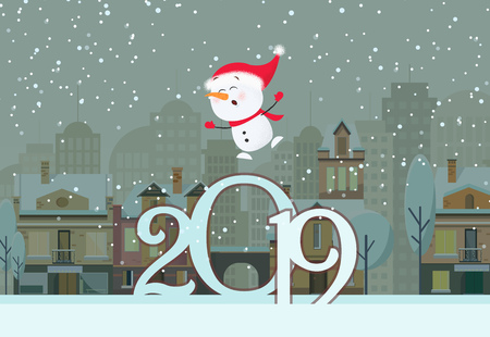 Poster design with flying snowman and numbers. Numbers and flying snowman on background with snowy winter town. Can be used for postcards, invitations, greeting cards Ilustração