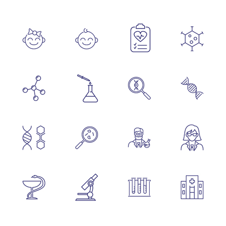 Medical genetics icons. Set of line icons. Research, DNA, bacteria, scientist, laboratory. Medicine concept. Vector illustration can be used for topics like chemistry, health, biology Stock Vector - 112619207
