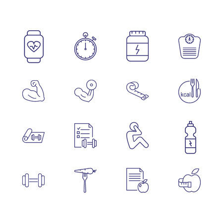 Musculature icons. Set of line icons. Bodybuilding, dieting, sport nutrition. Fitness concept. Vector illustration can be used for topics like healthy lifestyle, sport, losing weight Illustration