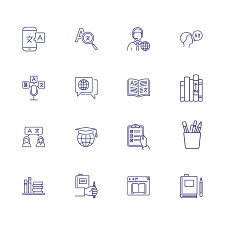 Translation icons. Set of line icons. Dictionary, online translator, language. Linguistics concept. Vector illustration can be used for topics like education, communication, applications Illustration