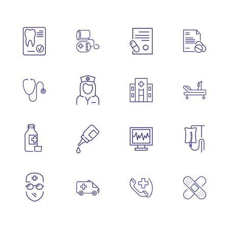 Treatment icons. Set of line icons. Surgeon, hospital, icu room, medication. Medical service concept. Vector illustration can be used for topics like healthcare, medicine, medical equipment