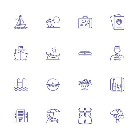 Voyage icons. Set of line icons. Hotel, passport, luggage, airplane. Trip concept. Vector illustration can be used for topics like travel, tourism, transportation Stock fotó - 127385556