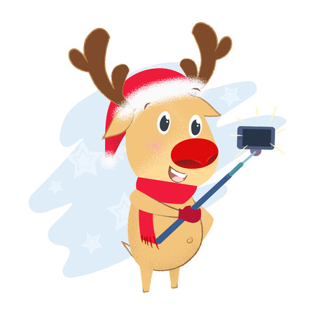Cute reindeer taking selfie photo. New Year Day design element. For greeting cards, leaflets, brochures, invitations, posters or banners.